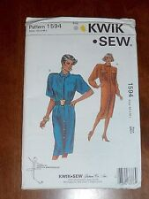 VINTAGE KWIK SEW PATTERN #1594 - SHIRT DRESS - MISSES XS-L - UNCUT