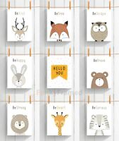 Peekaboo Animal Safari Prints Children Bedroom Nursery Baby Boy Girl  Decor Wall