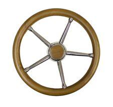 Steuerrad Sportboote 35cm Teak-Edelstahl Lenkrad Holz Steuer Boot Steering wheel