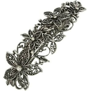 10cm Vintage Crystal Silver Hair Barrette Clip Slide Filigree Flower Women UK
