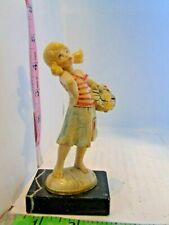 Vintg Depose Italy Figurine Girl W/Basket Standing On Marble Base Fontanini !