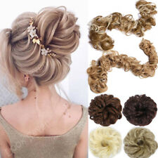 Messy Bun Hair Piece Curly Scrunchie Wrap On Updo False Hair Extensions AS Human