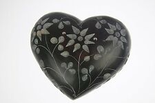 3 Inch Green Soap Stone Heart Shaped Incense Stick Holder Soapstone (green-b)