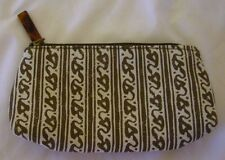 New Estee Lauder Satin Small Brown and White Cosmetic Bag