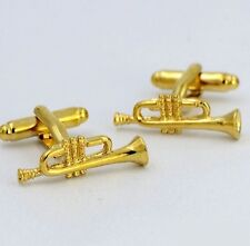 High Quality Cufflinks Trumpet Gold Colour Music Cuff links Note Jazz Blues