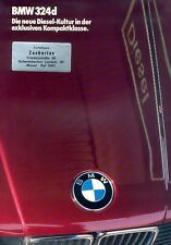 Bmw 324d folleto 1/86 1986 e30 coche folleto folleto coche diesel brochure