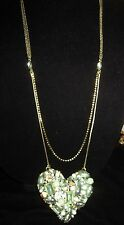 Betsey Johnson MINT COLORED HEART SHAPED  STONE LONG DOUBLE NECKLACE