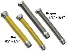 """TUBO FLESSIBILE ESTENSIBILE 200-400mm RACCORDI ACCIAIO INOX ACQUA GAS 1/2""""- 3/4"""""""