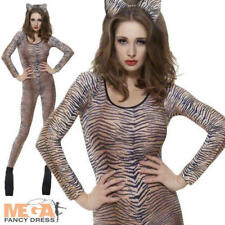 Tiger Print Bodysuit Ladies Animal Catsuit Fancy Dress Costume Outfit UK 6-14