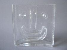 Claus Josef Riedel Glas Vase klar 12,5 cm lachendes Gesicht glass Face Blockvase