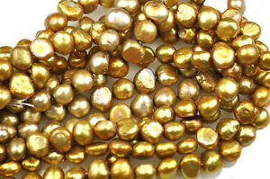 Antique Gold Cultured  Freshwater Side Drilled Nugget Pearl Strand 8.5MM