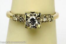 Art Deco 14K Yellow White Gold 0.20ct Solitaire Diamond w/Accent Engagement Ring