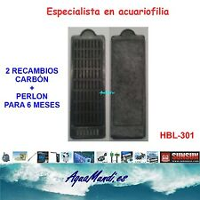 recambio carbon perlon filtro mochila externo exterior acuario HBL-301 pecera