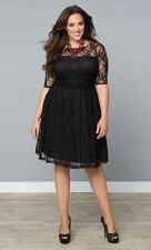 Kiyonna Plus Sze 1X Black Dress Luna Lace Style Party Cocktail Illusion Neck New