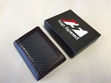 Men Glossy Black Carbon Fiber with Black Soft Calf Leather Tri-Fold Wallet