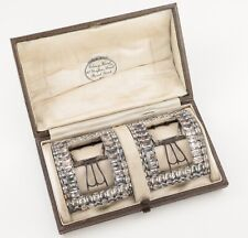 More details for antique georgian silver shoe buckles with paste stones in antique case