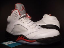 Nike Air Jordan V 5 Retro WHITE FIRE RED BLACK WOLF GREY SILVER 136027-100 Sz 12