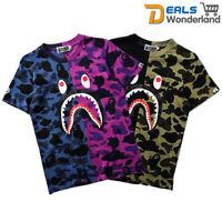 Mens Ape Shark Head Bathing T-shirt Bape A Camo Army Tops Crew Neck