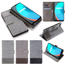 For OPPO A72 A53 A92 A83 Reno 4 Pro F7 F5 Canvas PU Leather Splicing Wallet Case