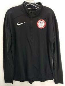 NIKE Running Dri-Fit 1/4 Zip Shirt Men's M United States Olympics Team Black