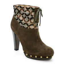 Coach Ladies 9 B Ediva High Heel Boot Brown Suede Signature Camo Studs Booties