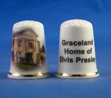 Birchcroft China Thimble -- Music Stars -- Elvis Graceland -- Free Dome Box