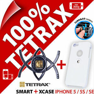 Tetrax Bundle Smart In Car Vent Holder + Xcase Case for Apple iPhone 5 / 5S / SE