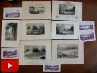 Niagara Falls NY New York Canada Tourist views c.1840-60 Lot x 12 prints lithos