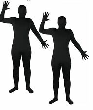 Black Skinz Suit Zentai All In One Lycra Jumpsuit Mens Ladies Fancy Dress Outfit