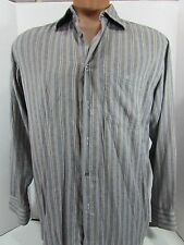 MENS AUTH IZOD LACOSTE Gray STRIPED LONG SLEEVE BUTTON UP SHIRT 42 XL aligator