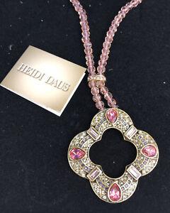 Heidi Daus Pink Crystal Glass Rhinestone Necklace Pendant w/ Box