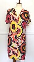 Trina Turk Dress Short Sleeve Sun Burst V-Neck Pink Orange Yellow 100% Silk 4