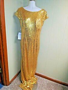 Babyonline Women's Short Sleeve Drape Open Back Sequin Bridesmaid Dress FR7 Gold