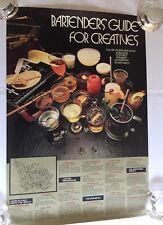 Bartenders' Guide for Creatives -Vintage 1970's Drink Poster - 19 Drink Recipes
