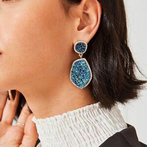 Vina Druzy Drop Earrings Glistening Stones Delicate Chic CZ Pave Dangle Jewelry