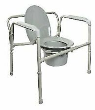 McKesson Folding Commode Chair Fixed Arm Steel Back Bar up to 650 Lbs.