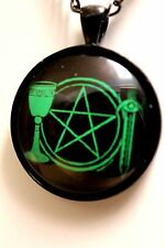 Wiccan Pagan Pentagram Goddess Triquetra Pendant Necklace Black or Copper 30mm