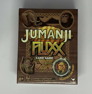 Jumanji Fluxx Card Game with Collector's Coin for Ages 8 and Up NEW