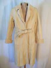 WOMEN'S GOATSKIN LONG TRENCH COAT IVORY SIZE MEDIUM LA RIVA BIANCA JAPAN
