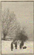 LONDRES LONDON GRAVURE ENGRAVING TWICKENHAM CUT PRINT 1883