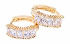 Gorgeous Gold Plated Ear Hugging Hoop Earring Austrian Crystals Lever Back