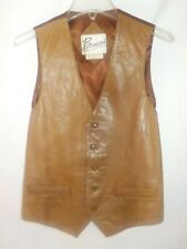 Vintage Lambskin Leather Berman's Mens Western Vest Brown Sz 40