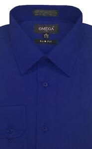 Mens Solid Slim Fit Premium Dress Shirt, Various Colors, Sleeve lengths.