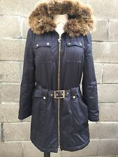 Iceberg Made in Italy black Parka Jacket Coyote fur Winter Coat 40/Small