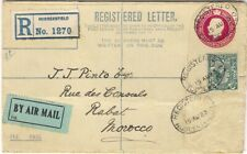 1923 GB 4½d Registered Postal Stationery Envelope Huddersfield AIRMAIL > MOROCCO