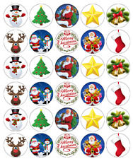 30 x Christmas Santa Cupcake Toppers Edible Wafer Paper Fairy Cake Toppers
