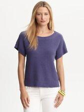 NWT Banana Republic Women's 100% Cotton Crewneck Sweater Color Purple Size XS
