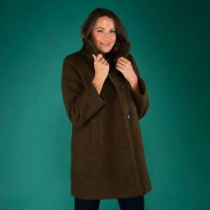 Stolen Heart Funnel Neck Boucle Coat 16, 18, 20 uk navy, black, olive,cream