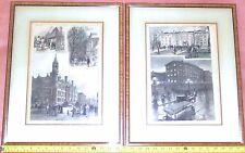 Pair Historic COLUMBIA UNIVERSITY Framed Original Prints~Harper's Wkly 1885&1886