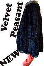 Gypsy crushed velvet skirt black gothic wicca peasant large hippy punk steampunk